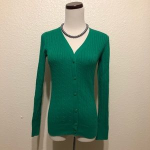 Tommy Hilfiger Button Up Emerald Green Cardigan XS